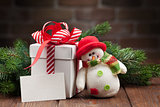 Christmas gift box and greeting card