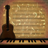 musical background guitar and piano keys 2