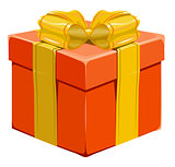 Orange closed gift box with bow