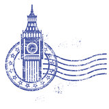 Grunge round stamp with Big Ben - landmark of London