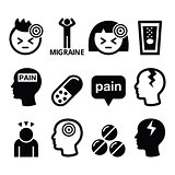 Headache, migraine - medical vector icons set