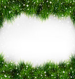 Green Christmas Tree Pine Branches Like Frame with Snowfall