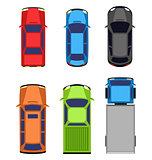 Multicolored car collection isolated on white