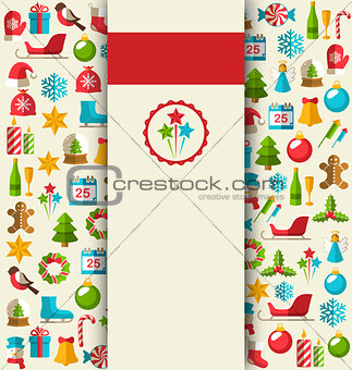 Christmas Card with Flat Icons on Beige
