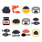 Caviar, roe, fish eggs icons set