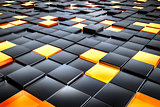 black and orange glass cubes