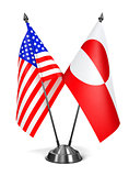 USA and Greenland - Miniature Flags.