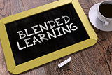 Blended Learning Handwritten by White Chalk on a Blackboard.