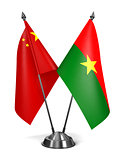 China and Burkina Faso - Miniature Flags.