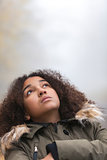 Mixed Race African American Girl Young Woman Looking Up