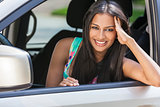 Indian Asian Girl Young Woman Driving Car
