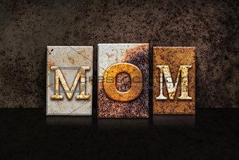 Mom Letterpress Concept on Dark Background