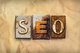 SEO Concept Rusted Metal Type
