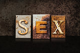 Sex Letterpress Concept on Dark Background