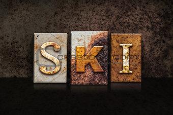Ski Letterpress Concept on Dark Background