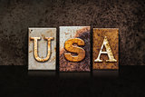 USA Letterpress Concept on Dark Background