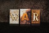 War Letterpress Concept on Dark Background