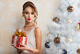 elegant woman in christmas portrait
