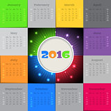 Bursting 2016 calendar design
