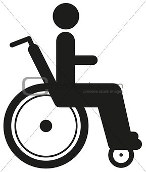 Black icon disabled person in wheelchair. World disability day