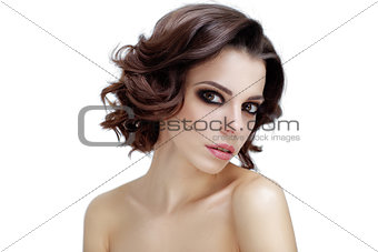 portrait of attractive caucasian woman brunette. Perfect skin