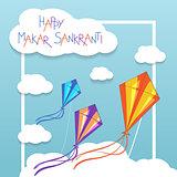 Happy Makar Sankranti card with kites
