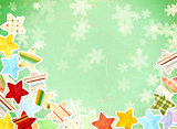 Grunge background with paper stars and snowflakes