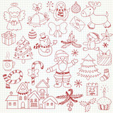 Collection of vector Christmas characters and ornaments in doodl
