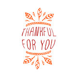 Thankful for you - typographic element