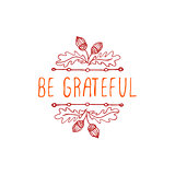 Be grateful- typographic element