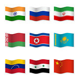 Waving flags of Russian ally countries