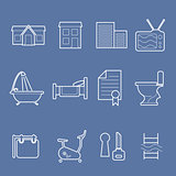 Real estate and accommodation amenities icons