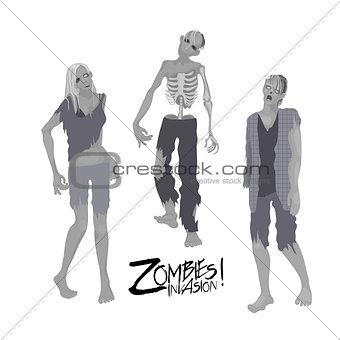 Three zombie characters walking forward