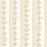 Vector romantic hand draw vertical striped seamless floral background