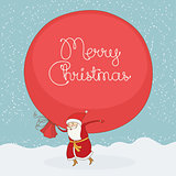 Santa Claus carries the large gift sack. Vector christmas postcard