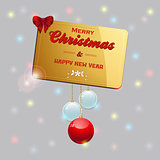 Gold Christmas card with baubles and bow