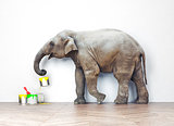 elephant with paint cans