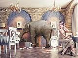 an elephant calm in the  restaurant