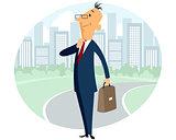 Businessman on city background