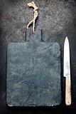 Slate cutting board and knife