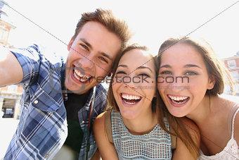 Group of teen friends taking a selfie
