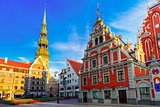 City Hall Square in the Old Town of Riga, Latvia