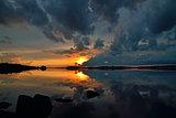 White nightst. Lake Pongoma. Karelia, Russia