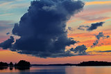Romantic twilight on lake Pongoma. Karelia, Russia