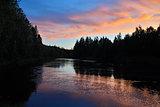 Pink twilight. Pongoma river. Karelia, Russia
