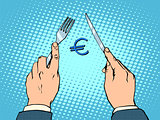 European Euro knife and fork financial concept