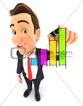 3d businessman hand drawn graph