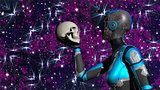 Futuristic Female Android in Deep Space holding human skull