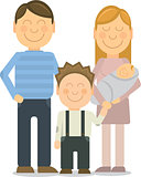 Vector Happy family portrait gesturing with cheerful smile