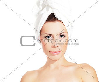 beautiful woman after shower